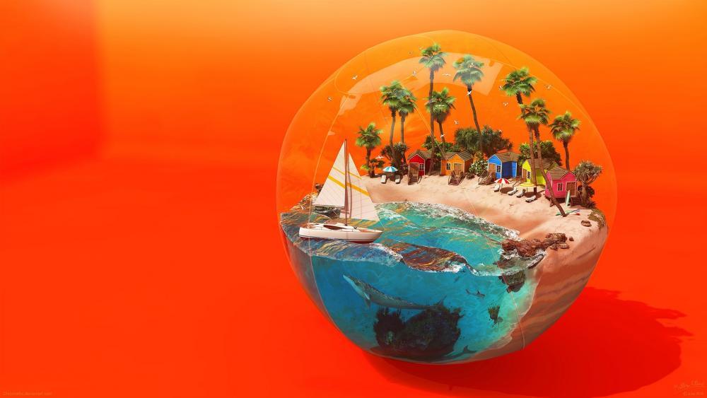 Fantasy Beach ball wallpaper