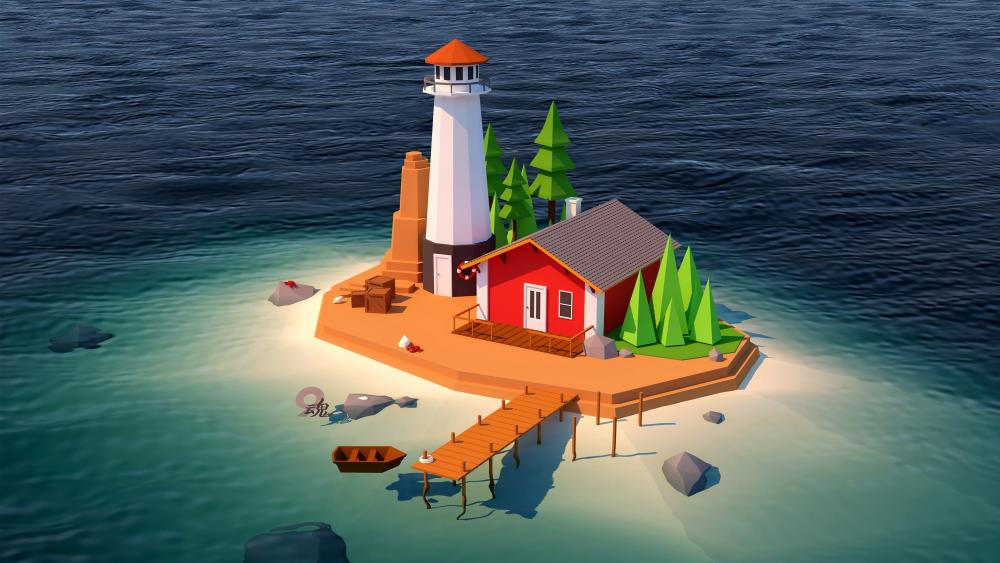 3D digital art fantasy Island with lighthoue wallpaper
