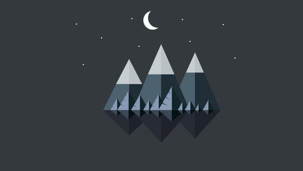 Mountains at night minimal landscape wallpaper