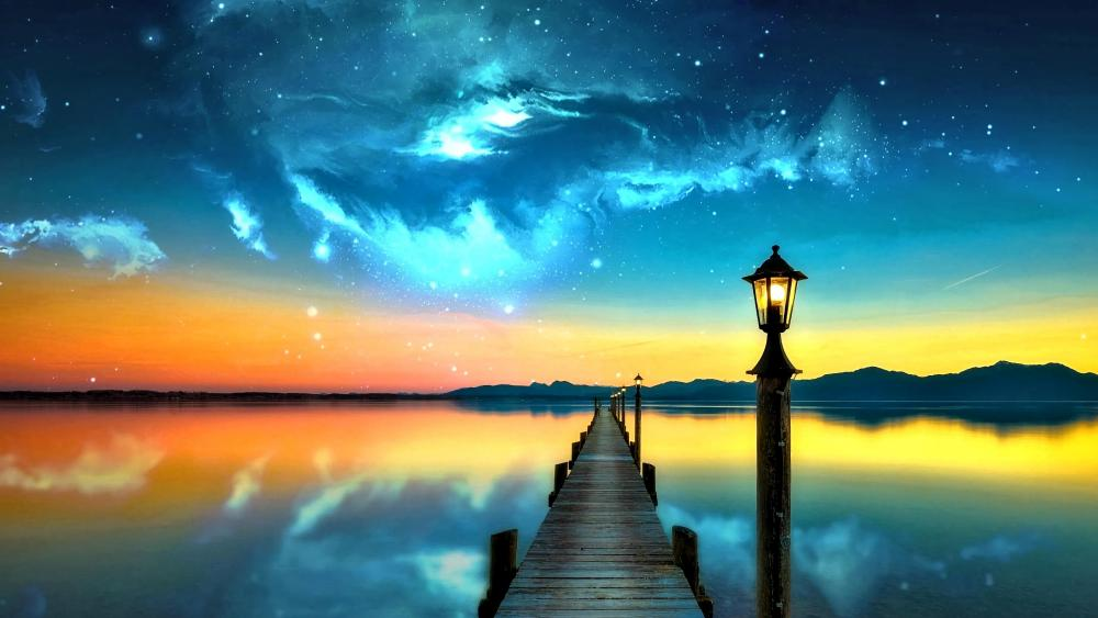 Pier sith a street lantern fantasy landscape wallpaper