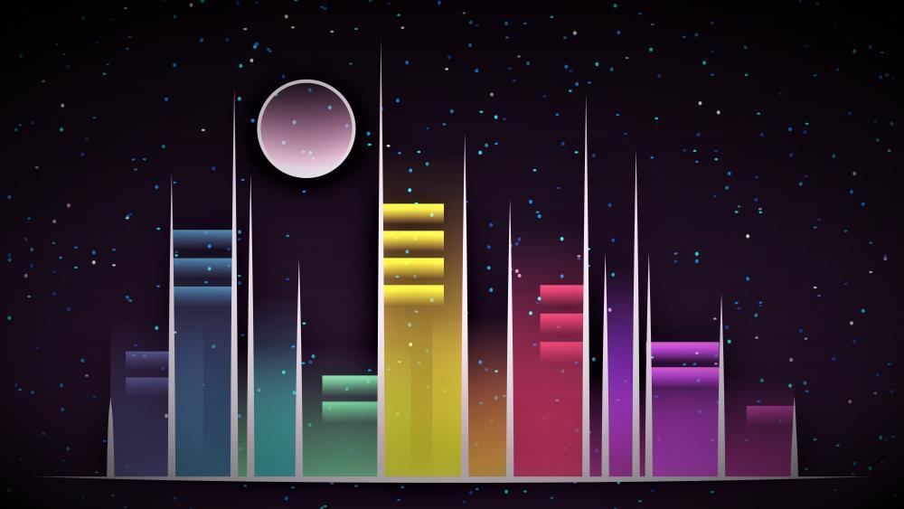 Neon skyscrapers wallpaper