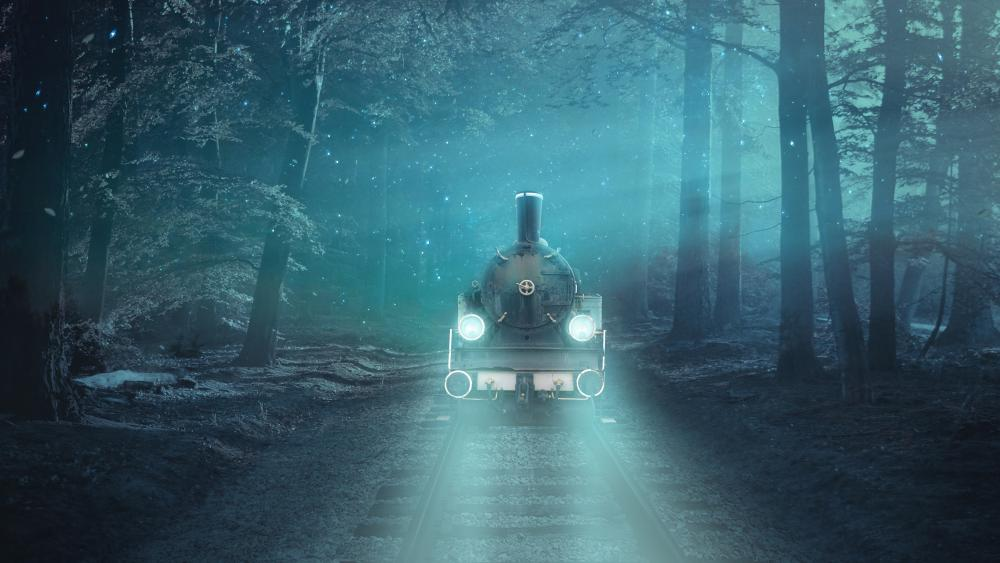 Ghost train in the forest wallpaper