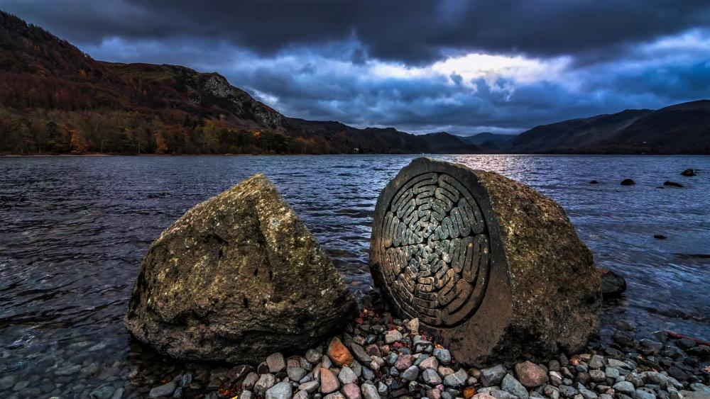 Derwentwater, Centenary stone and landscape of Lake District wallpaper