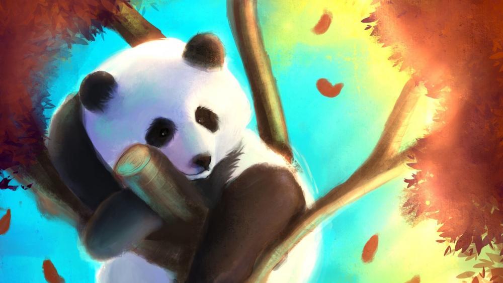 Cute panda bear on a tree wallpaper