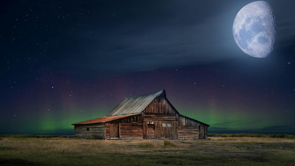 Barn in the moonlight wallpaper