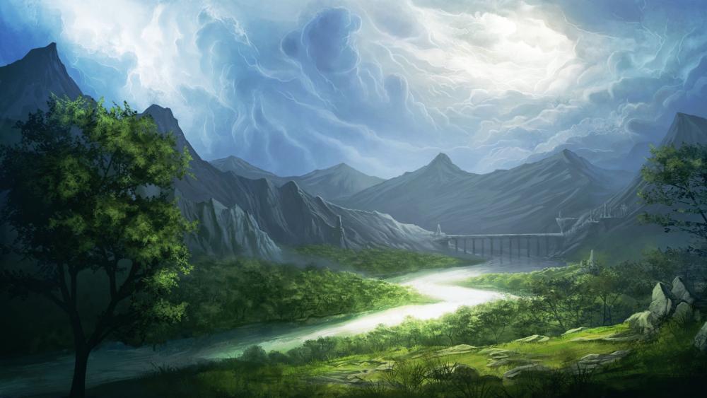 Winding river wallpaper
