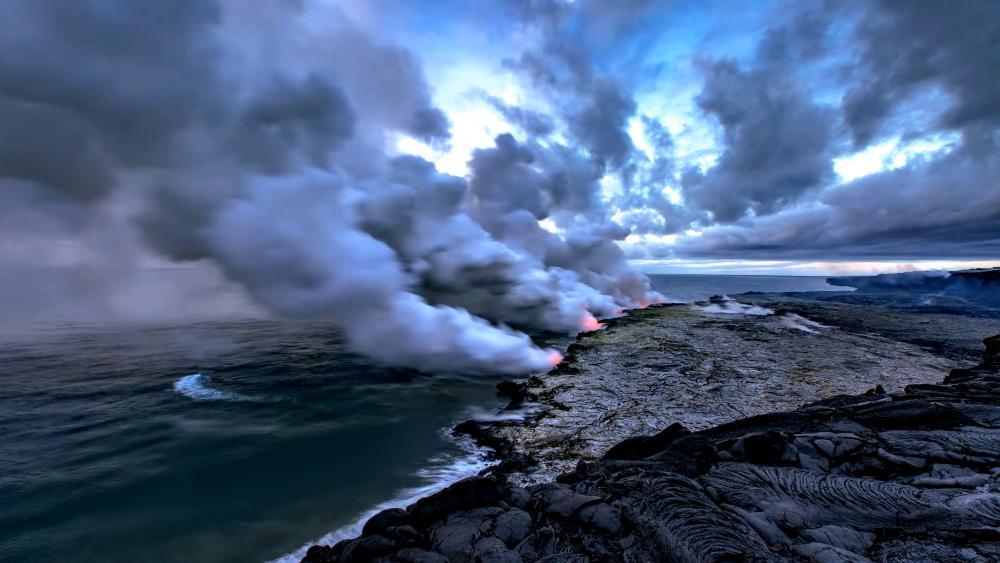 Beauty Scenery in Volcanoes wallpaper