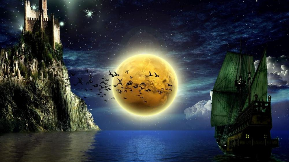 Sailing ship in the full moon wallpaper