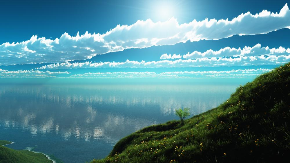 Blue sky on a sunny day wallpaper