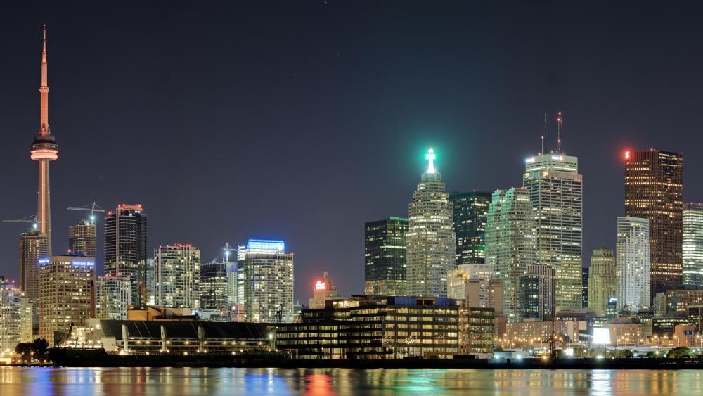 Panoramic View of the Toronto Skyline at Night wallpaper
