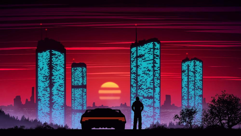 Neon cyber city sunset wallpaper