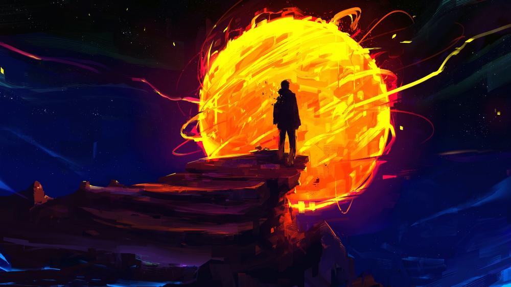 Burning sun on the dark sky wallpaper
