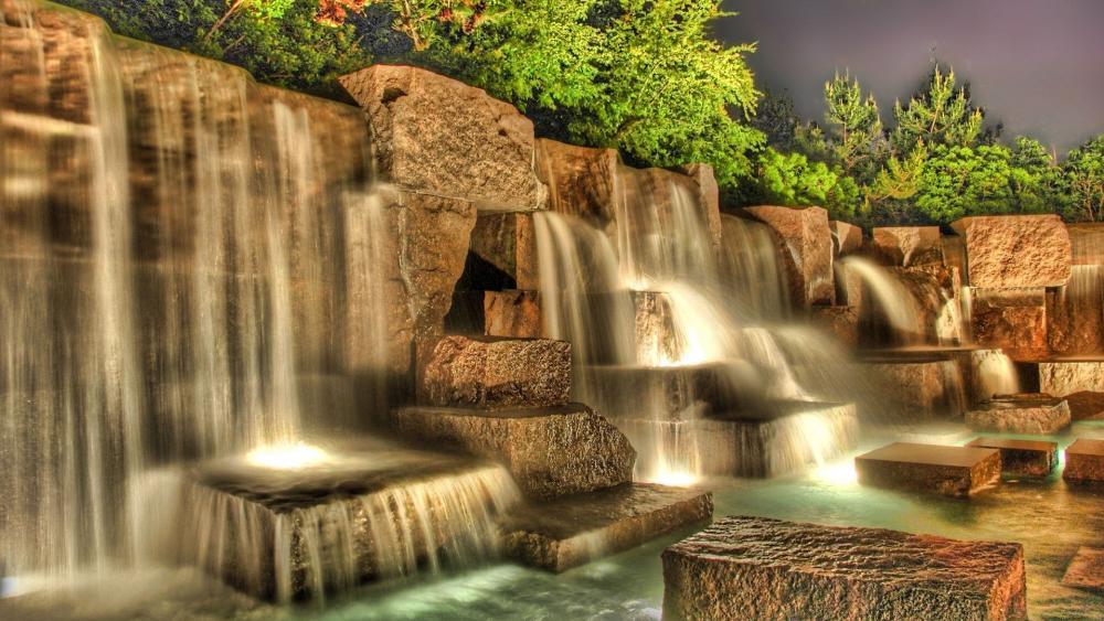 Artificial waterfall wallpaper