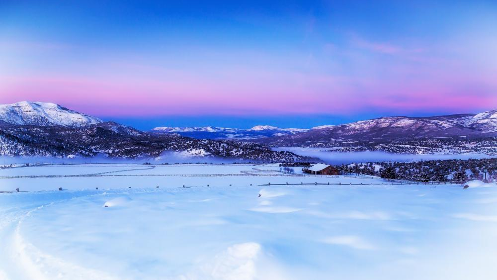Scenic winter landscape digital painting wallpaper