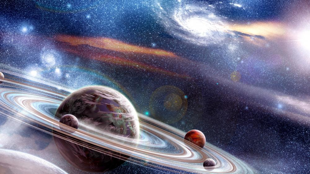 Rings of saturn with moons wallpaper