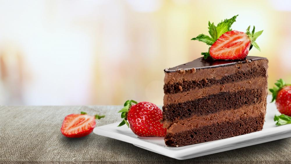 Chocolate cake with strawberry wallpaper