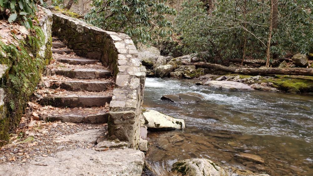 Cascade Falls Lower Trail Stairway wallpaper
