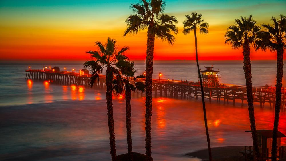 San Clemente Pier at sundown wallpaper