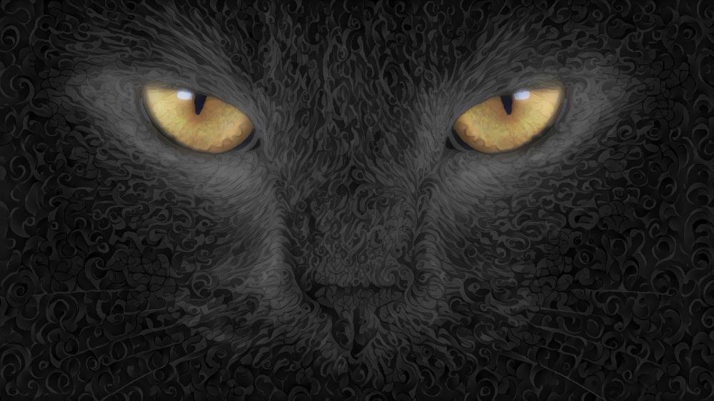 Black cat digital art wallpaper