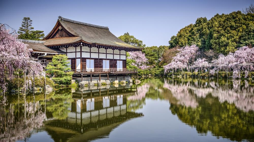 The garden of the Heian Shrine at spring wallpaper