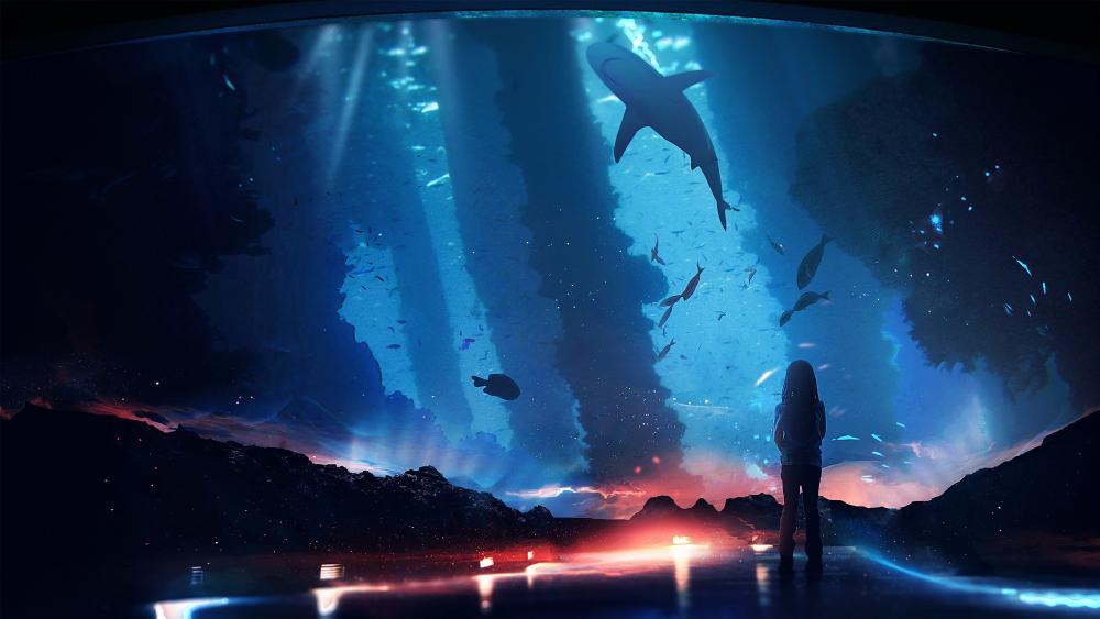 Anime fantasy aquarium wallpaper