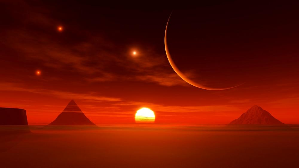 Desert sun fantasy landscape wallpaper
