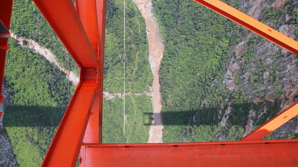 Looking Down from the Truss of the World's Highest Bridge wallpaper