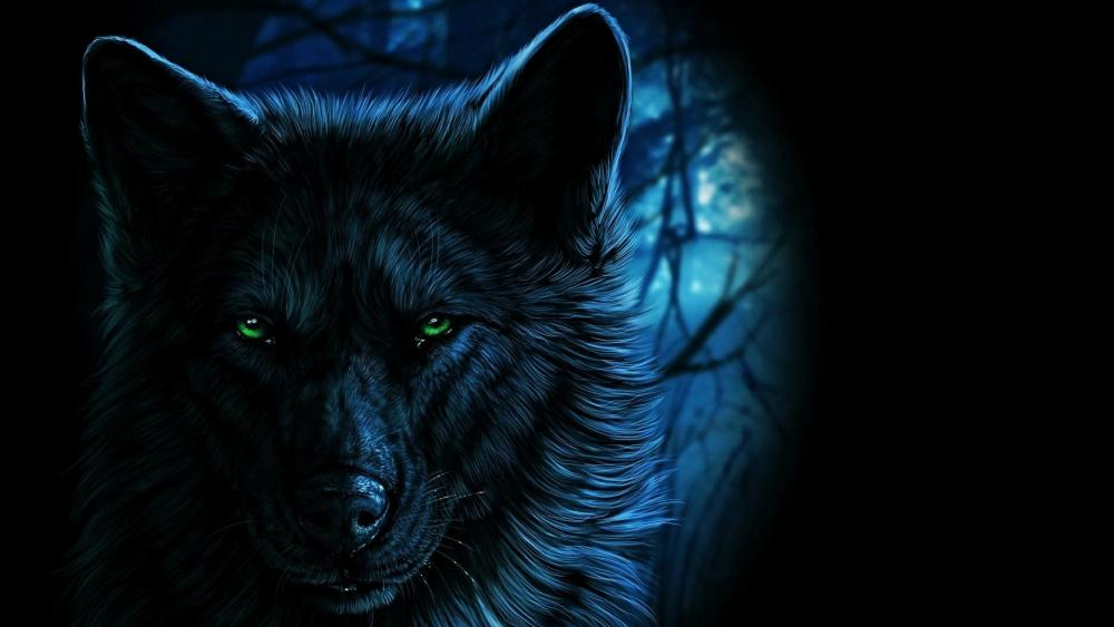 Black wolf with green eyes wallpaper