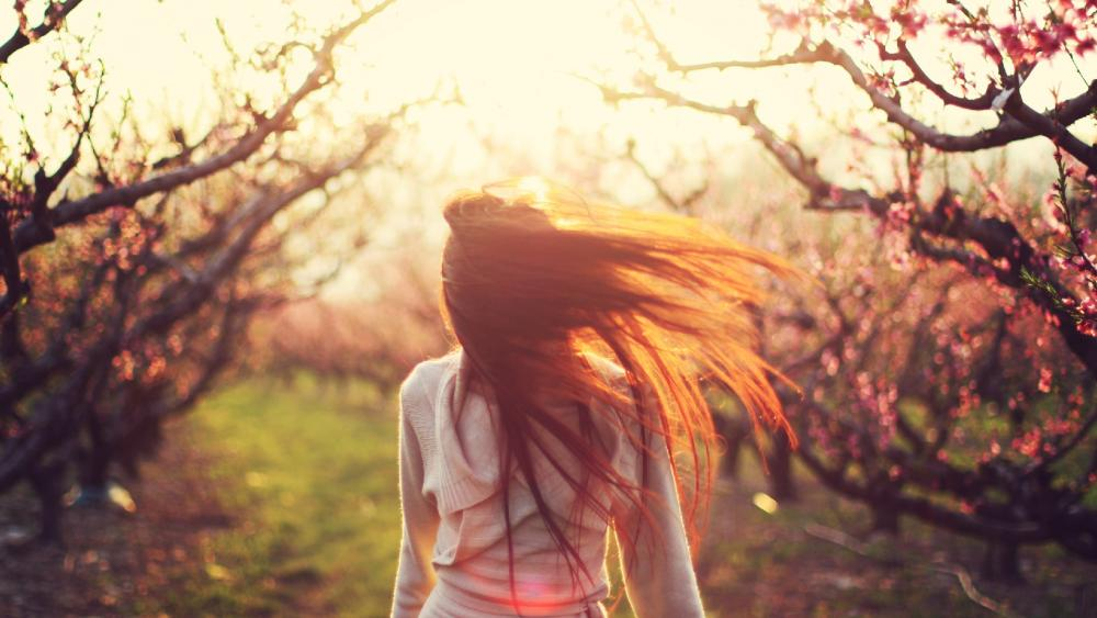 Happy Girl in Nature During Sunlight wallpaper