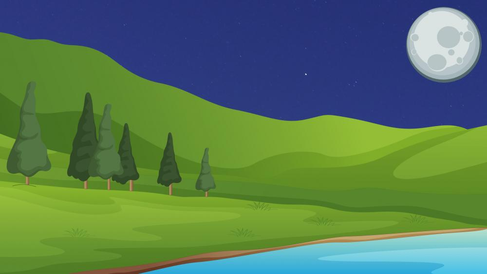 Digital minimal night nature landscape wallpaper