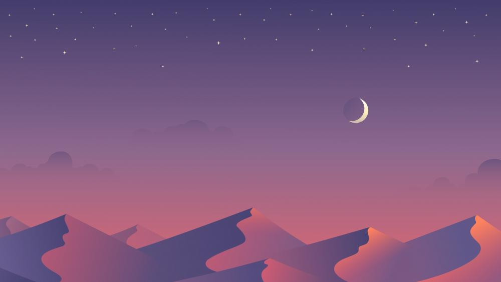 Purple night in the desert - minimalistic digital art wallpaper