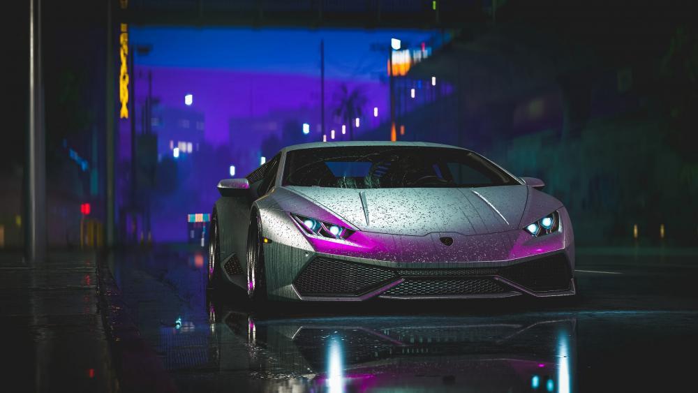 Gray Lamborghini Aventador in Street Light wallpaper