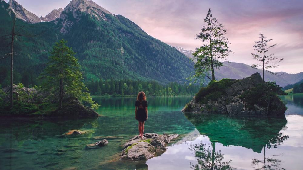 Girl standing in middle of the Hintersee Lake, Germany wallpaper