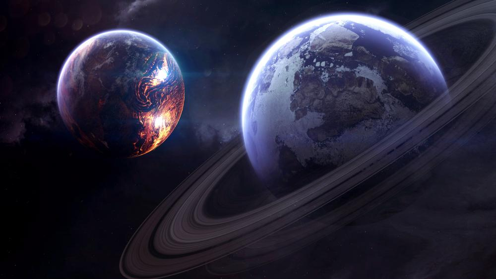 Ringed planet space art wallpaper