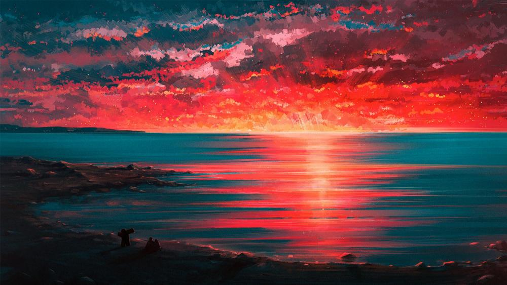 Fantasy sunset from the beach wallpaper