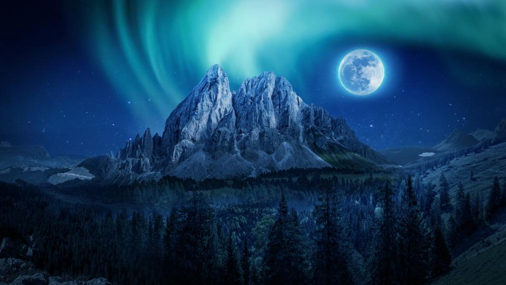 Fantasy polar lights in the moonlight above the mountain wallpaper