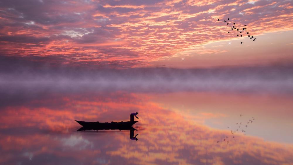 Fisherman at dawn wallpaper