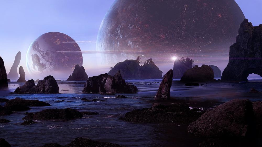 Futuristic planet landscape wallpaper