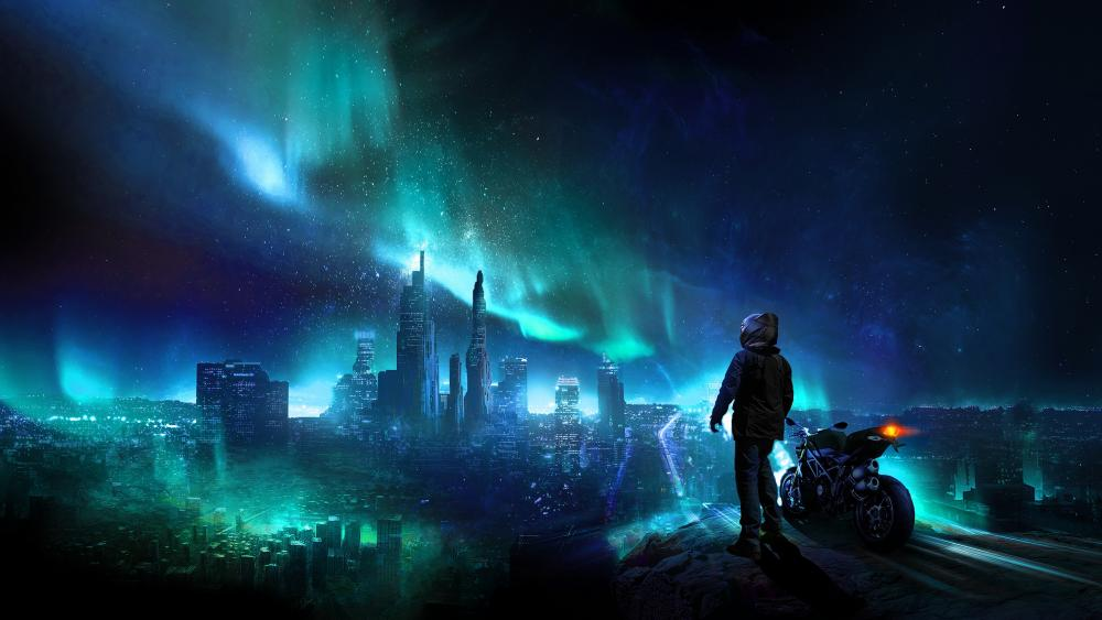 Motorcyclist watching the polar lights above the city wallpaper