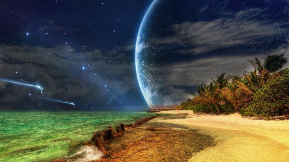 Fantasy tropical beach wallpaper