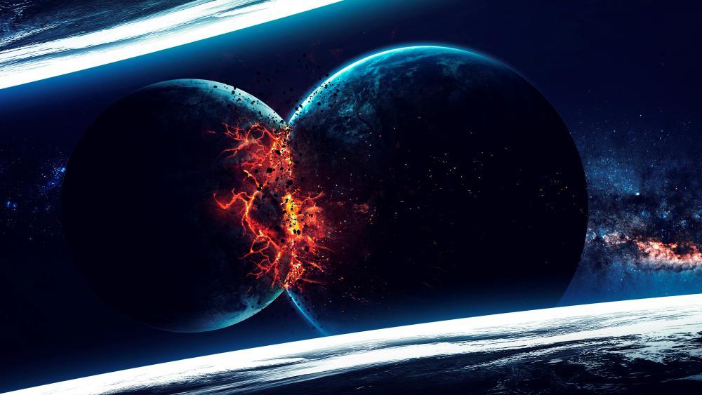 Planet collision wallpaper