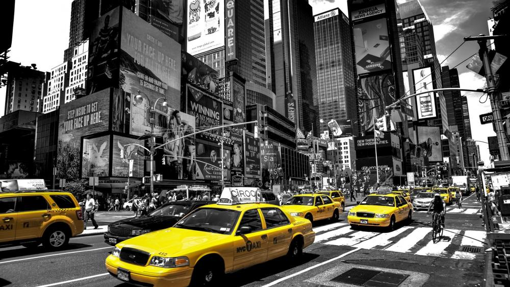 Cabs on Times Square wallpaper