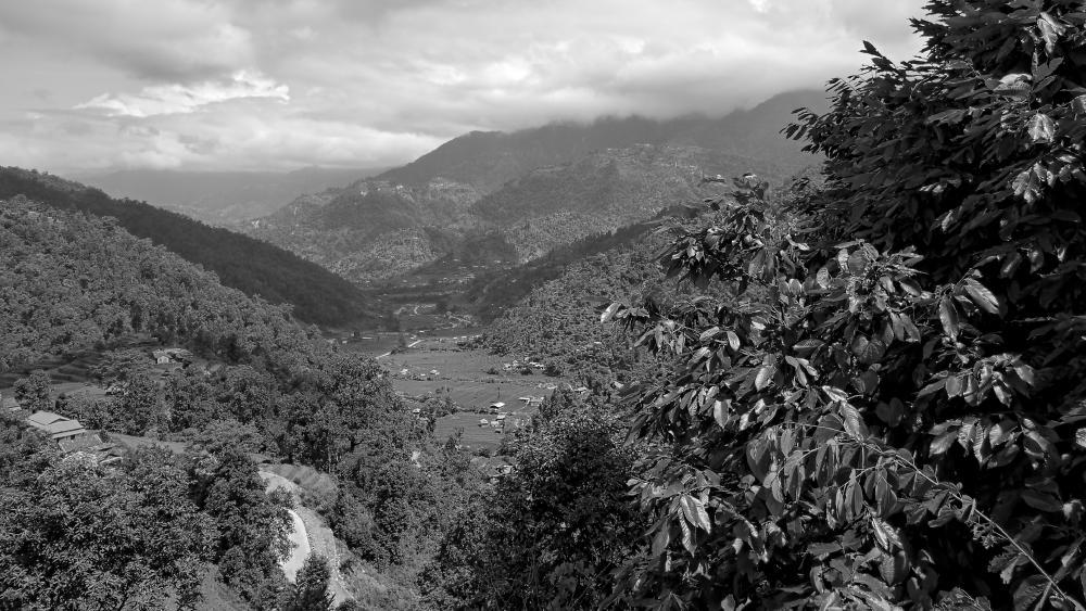 Mountain black and white photo wallpaper