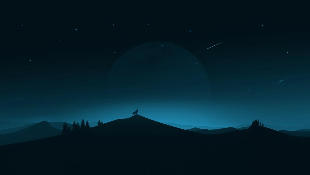 Howling wolf minimal art wallpaper