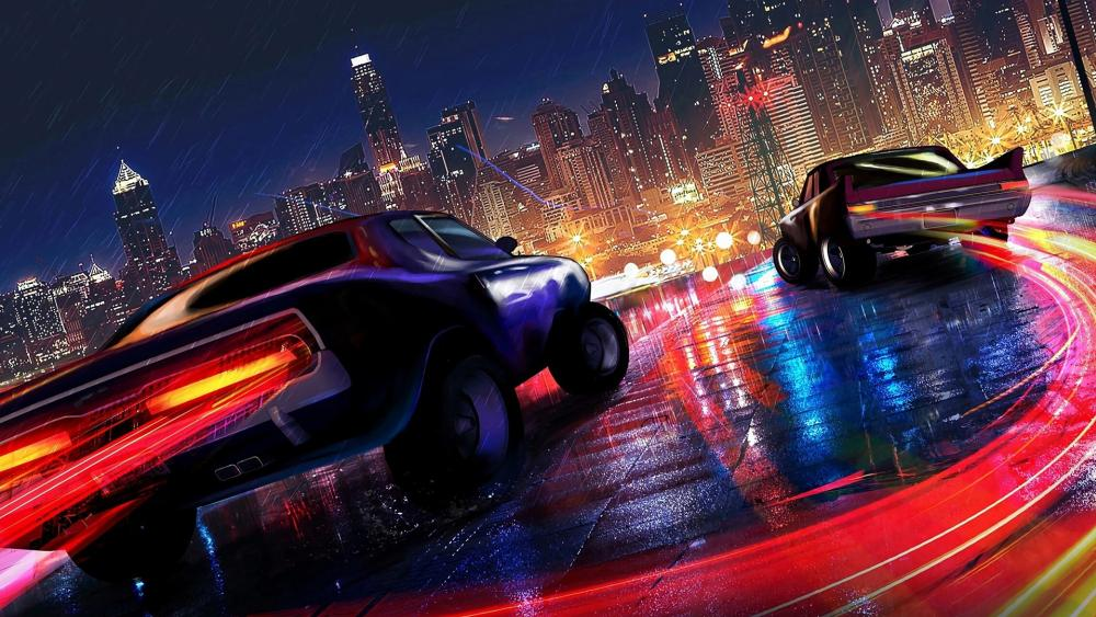 Cars Running In The Night City In The Rain wallpaper