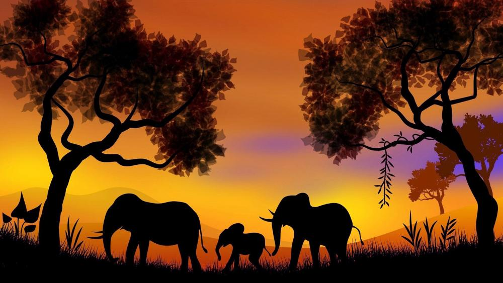 Elephant family on the Path wallpaper
