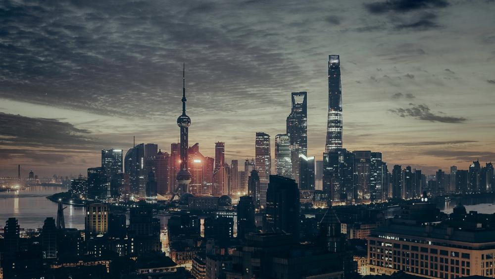 Shanghai Tower in Night Time wallpaper