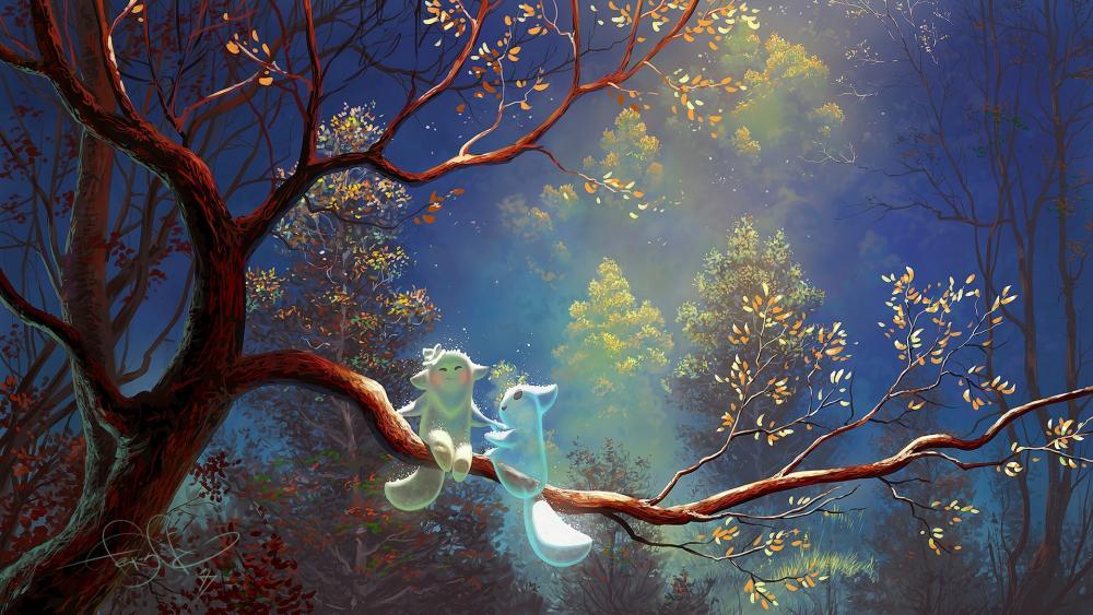 Cute glowing fantasy creatures wallpaper