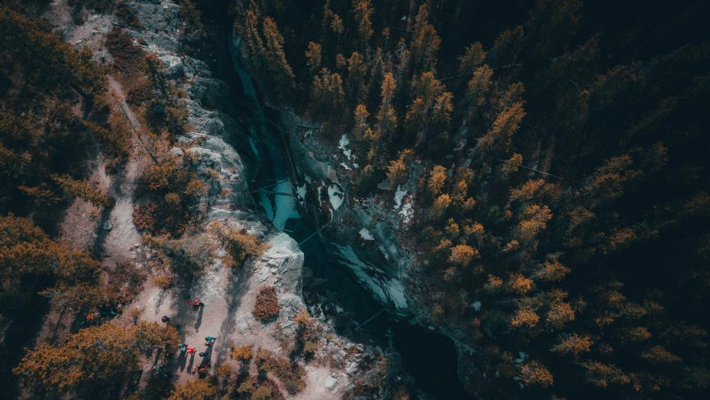 Aerial Photography of Cline River wallpaper