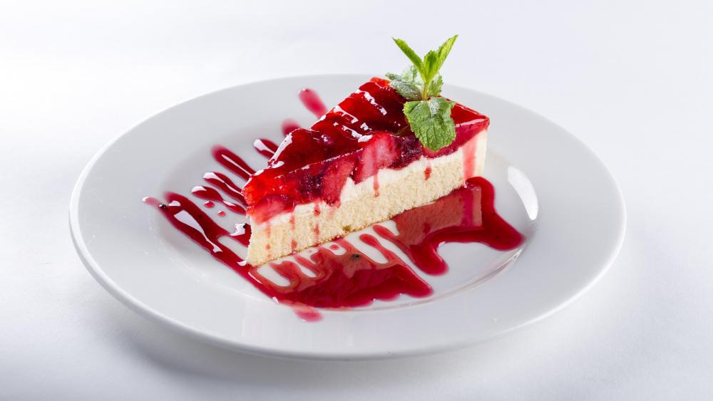 Delicious strawberry cake wallpaper